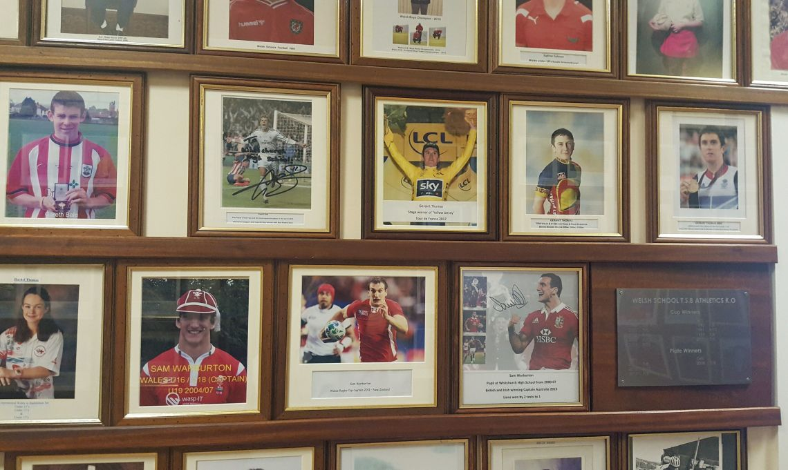 Pictures of ex-pupils Geraint Thomas, Gareth Bale and Sam Warburton on the wall of fame at Whitchurch High School in Cardiff.