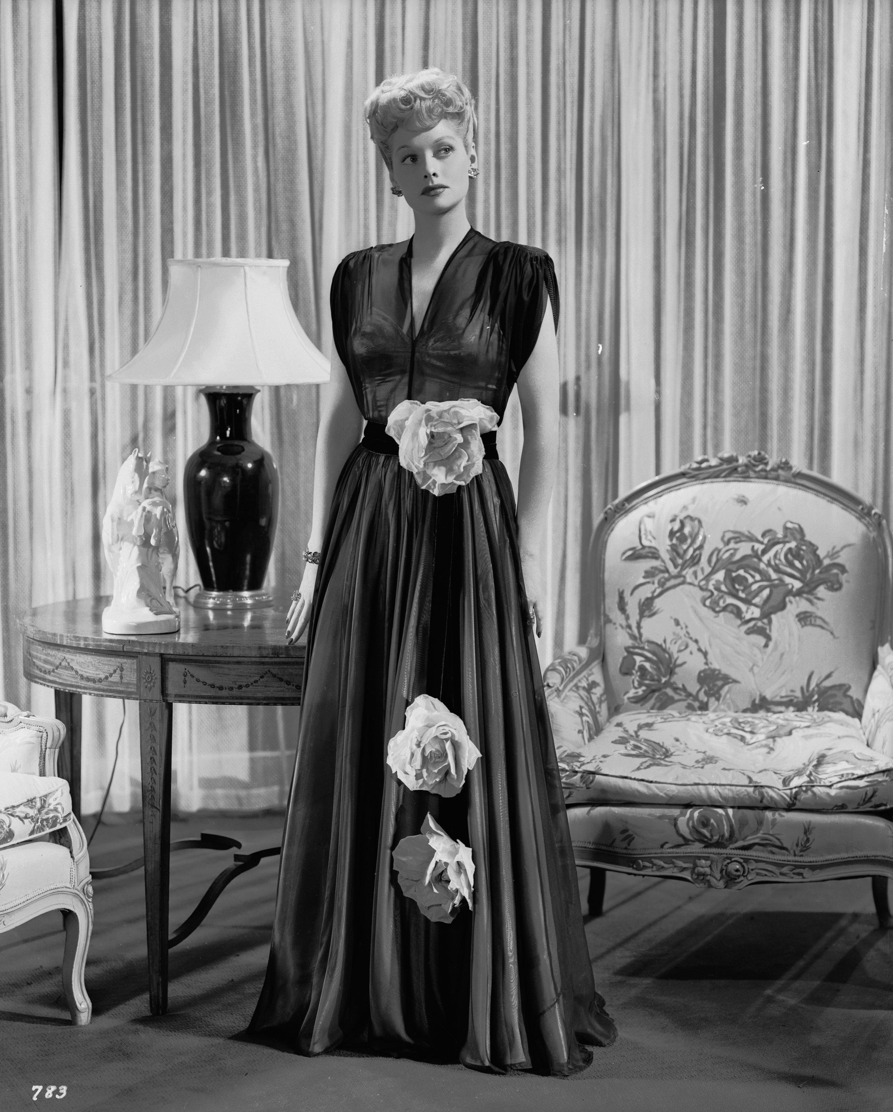Ball wearing an evening gown.