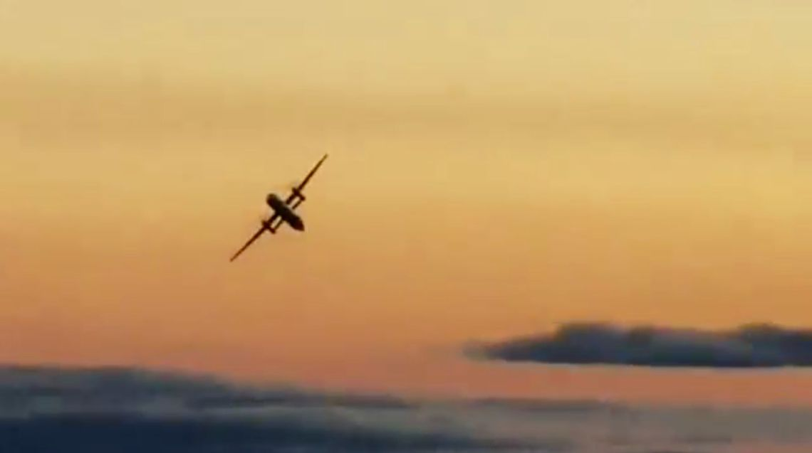 The plane performing a loop-the-loop shortly before it crashed.
