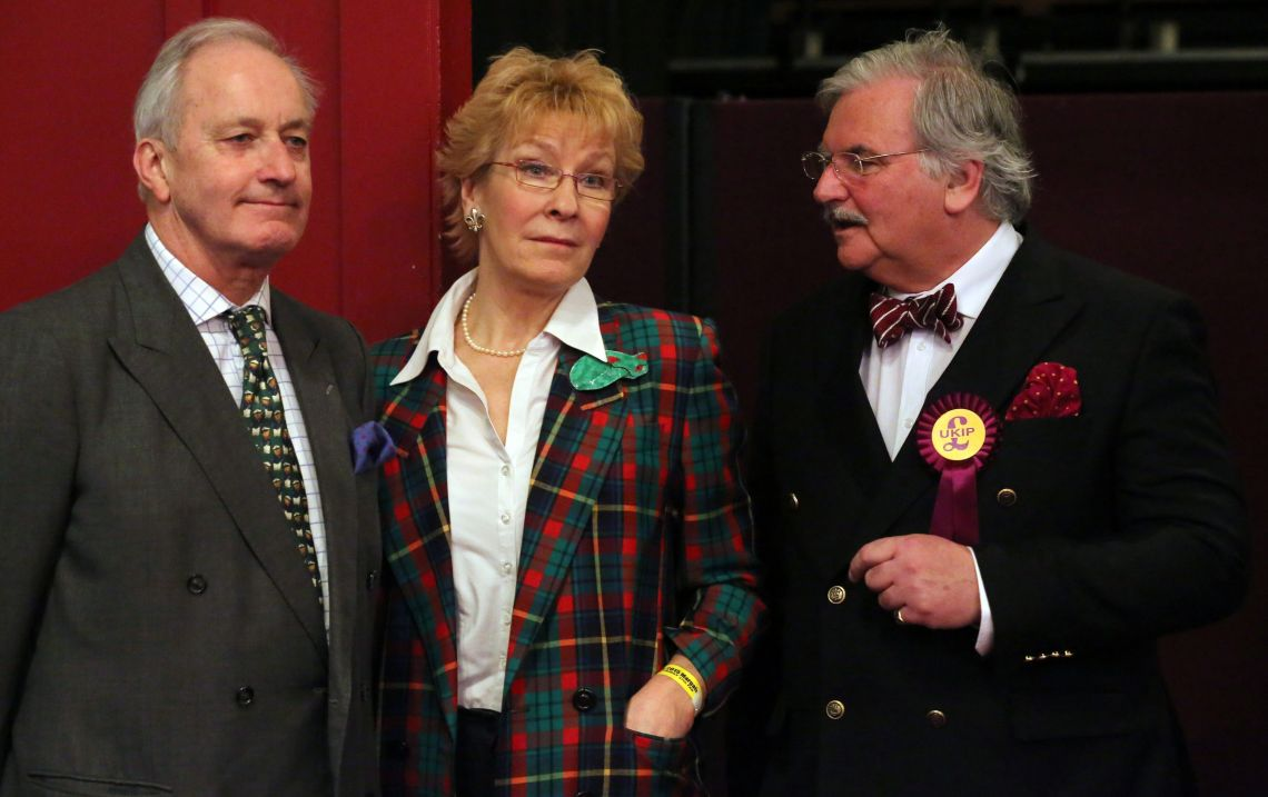 Neil and Christine Hamilton stand in the conference hall during the Ukip spring conference held at the Winter Gardens in Margate.