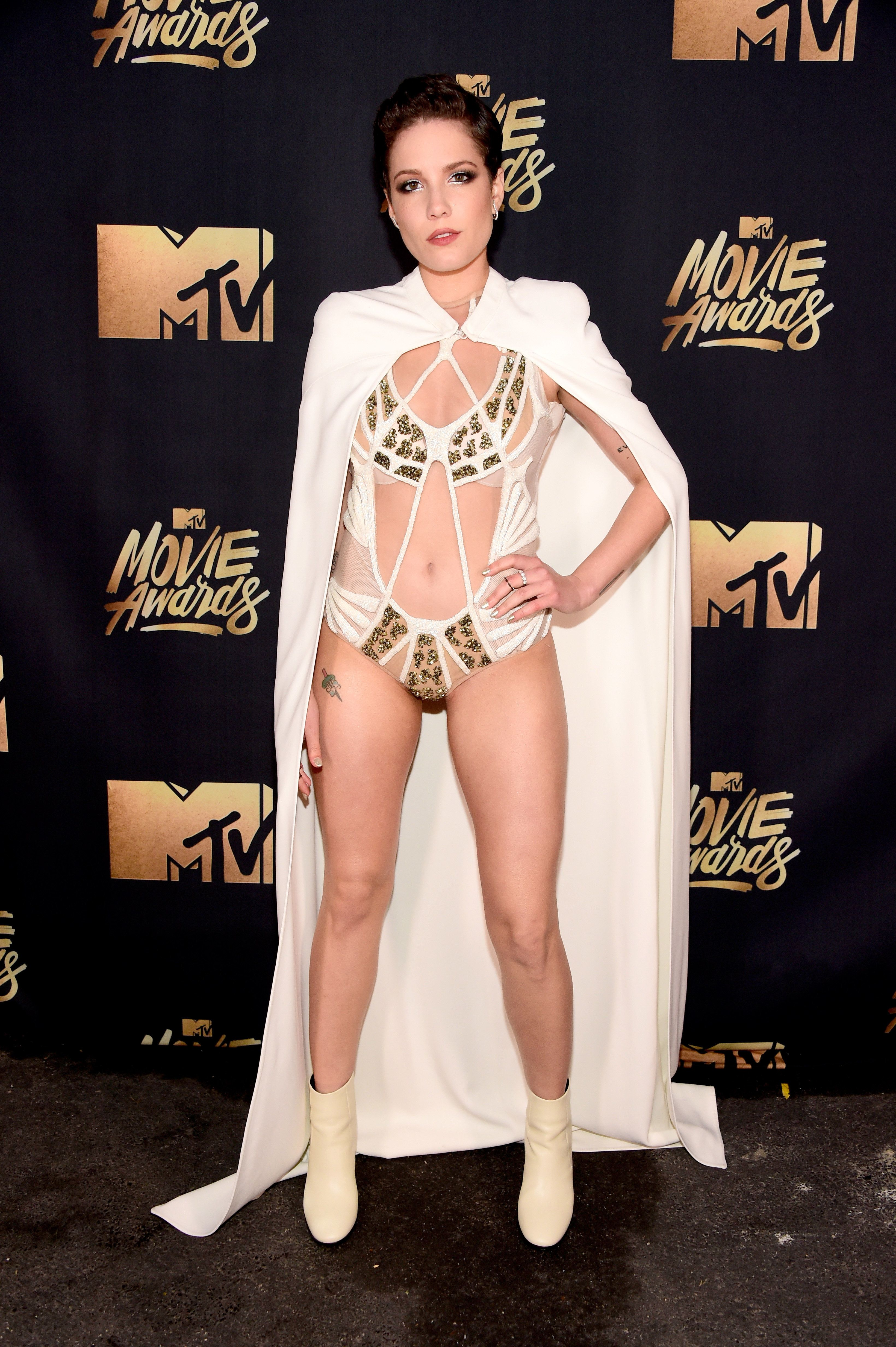 Backstage at the MTV Movie Awards on April 9 in Burbank, California.