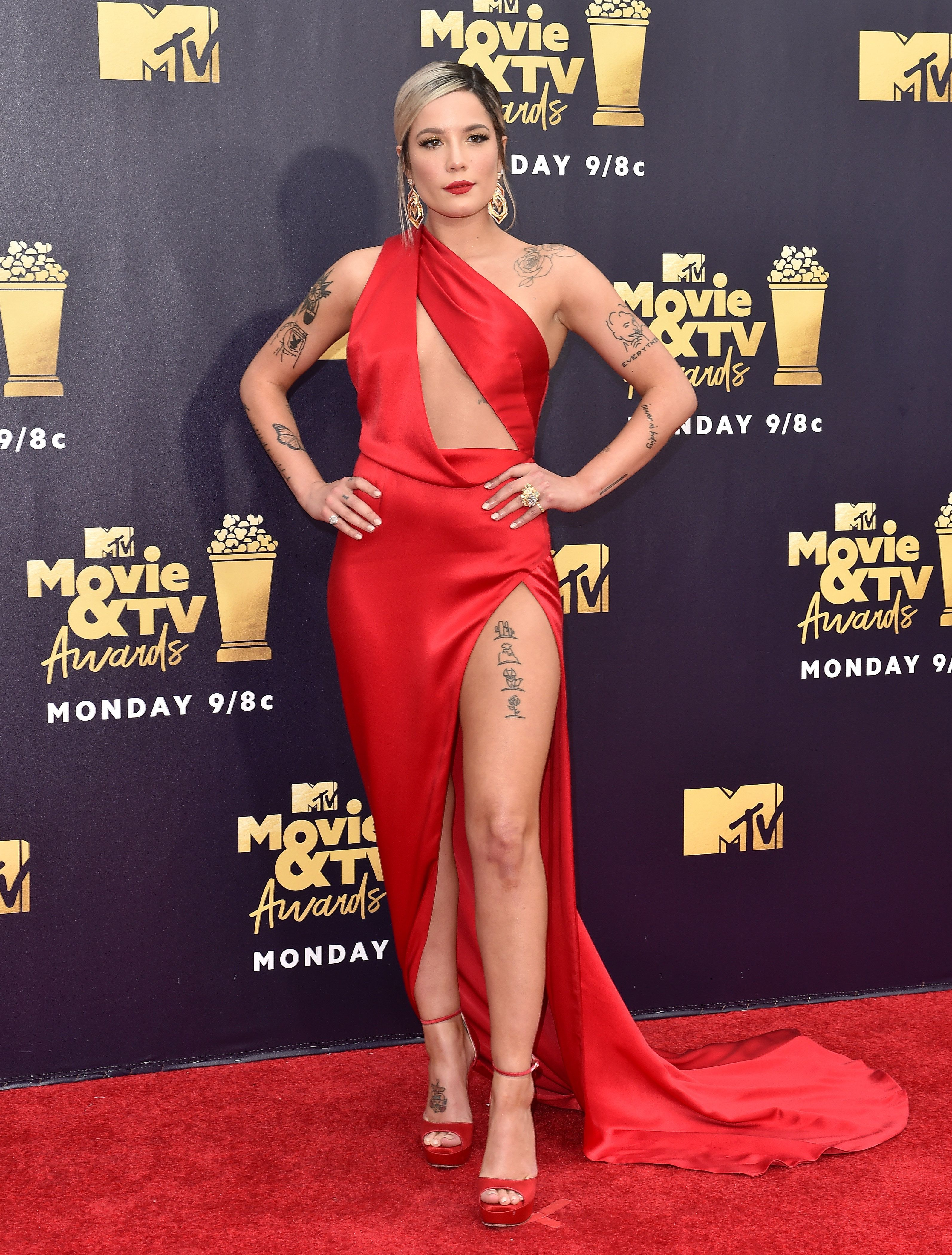 Wearing Julien Macdonald on the red carpet at the MTV Movie and TV Awards on June 16, in Santa Monica, California.