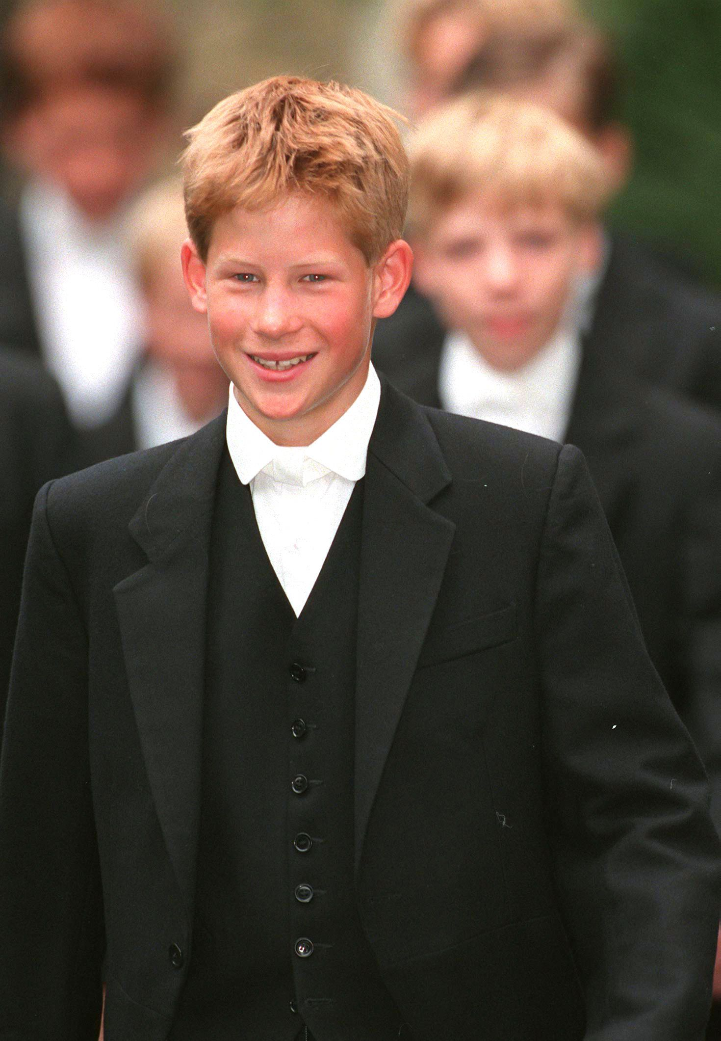 Prince Harry on his first day at Eton College, on Sept. 3, 1998.