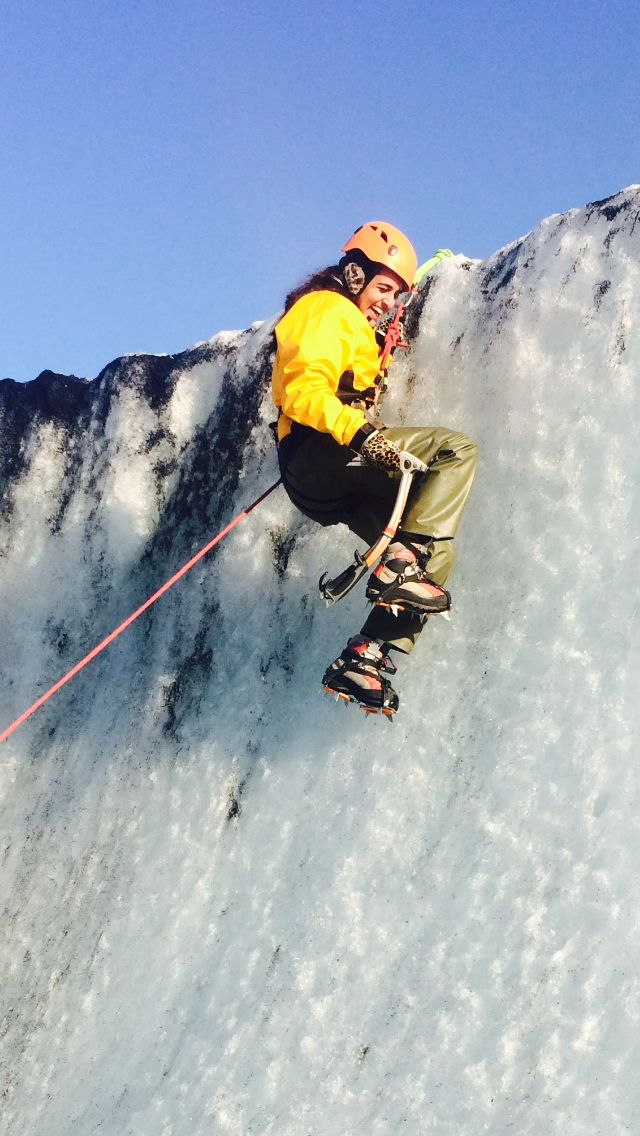 The author glacier climbing in Iceland.