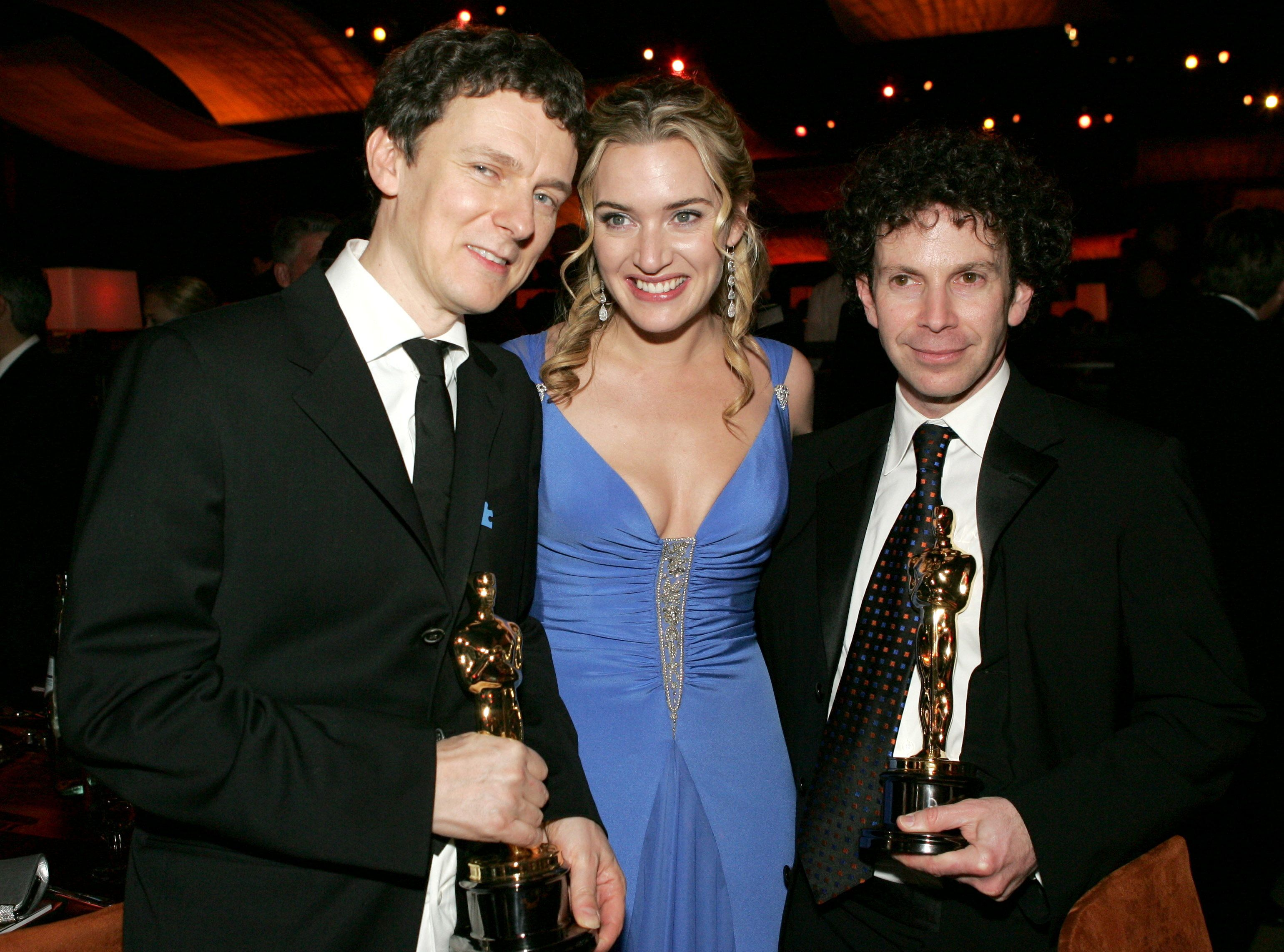 Michel Gondry, Kate Winslet and Charlie Kaufman after the 2005 Oscars, where Gondry and Kaufman won Best Original Screenplay