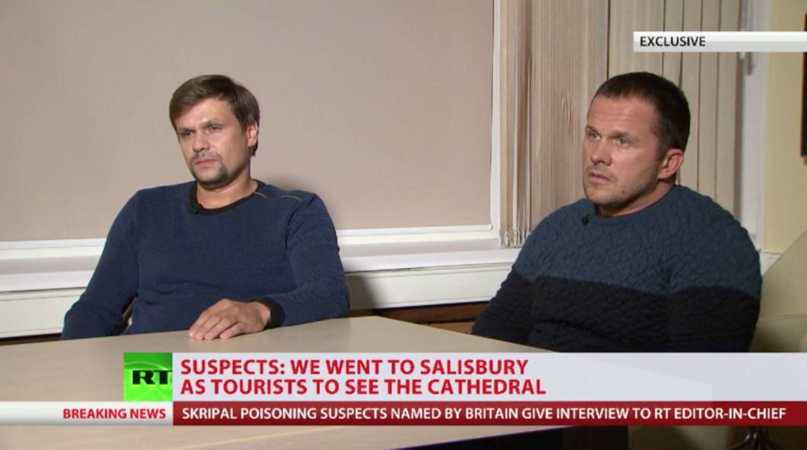 Petrov and Boshirov appearing on Russian State TV earlier this week.