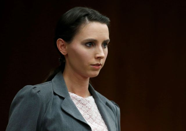 Rachael Denhollander makes a statement during convicted sexual abuser Larry Nassar'ssentencing hearing in Charlotte, Mi