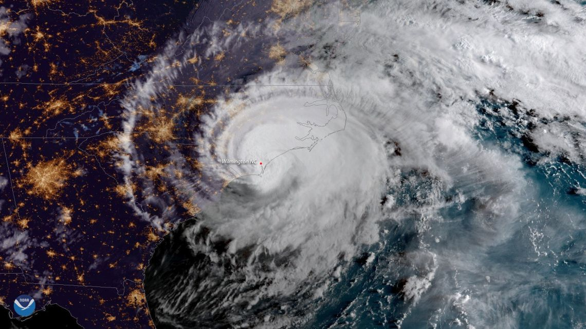 Hurricane Florence is shown from a National Oceanic and Atmospheric Administration (NOAA) #GOESEast satellite shortly after the storm made landfall near Wrightsville Beach, North Carolina, US, 14 September.
