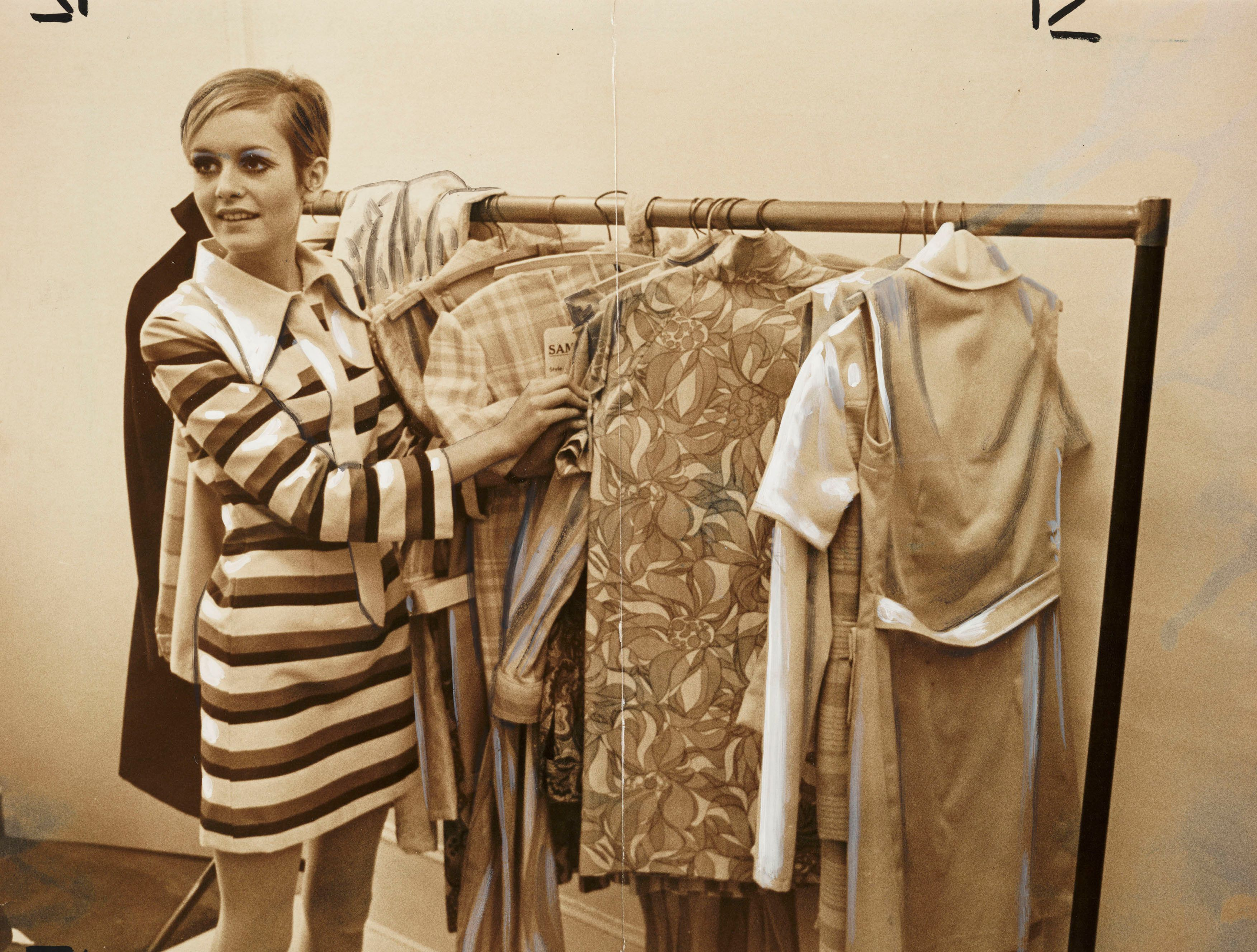 """The model with rail of """"Twiggy Clothes."""""""