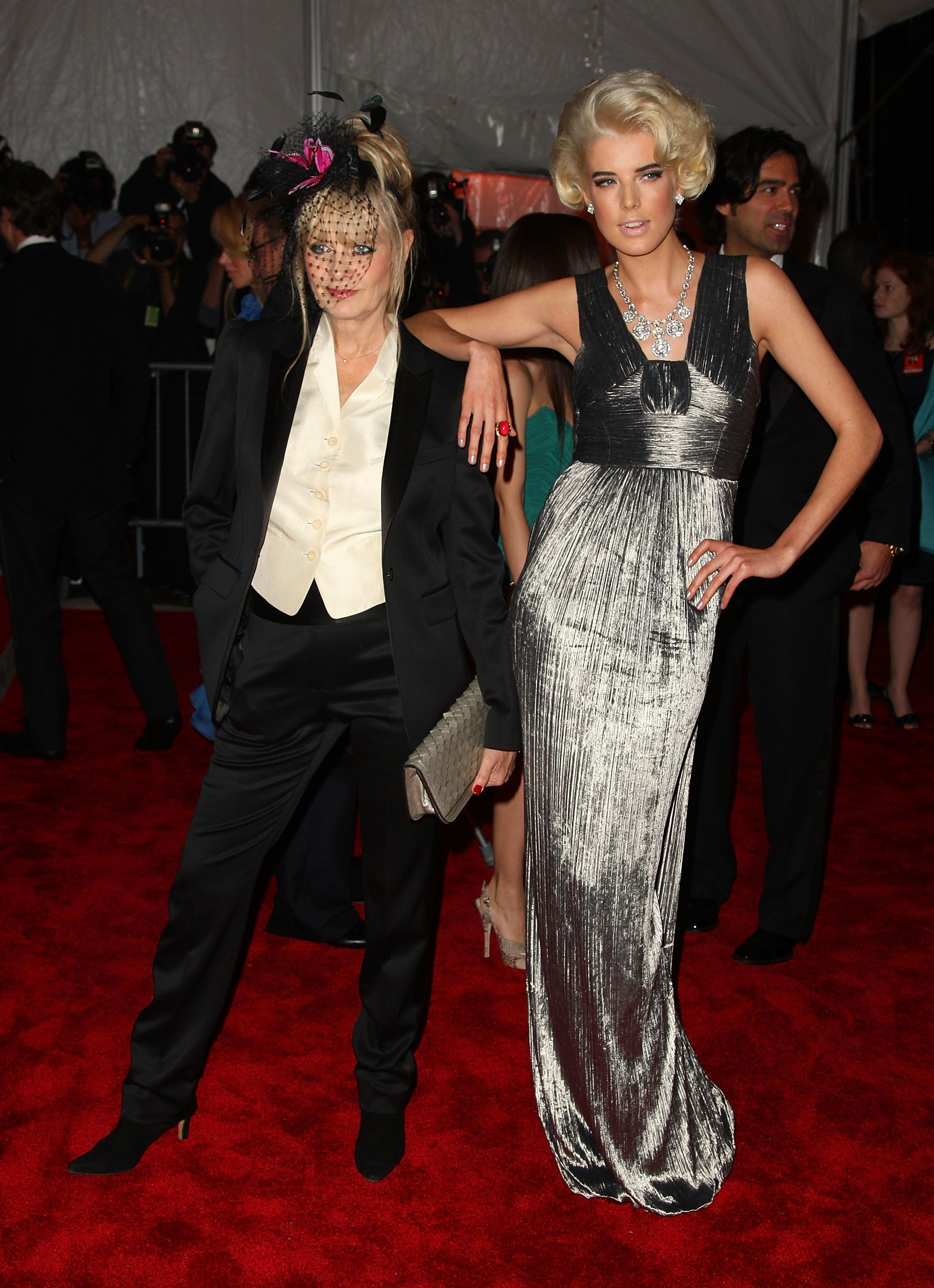 """Twiggy and model Agyness Deyn at """"The Model as Muse: Embodying Fashion"""" Costume Institute Gala at The Metropolitan Museum of"""