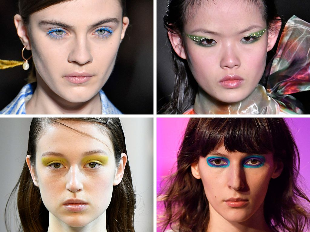 Aside from the pink and purple combo, we pretty much saw makeup looks done with all shades of the rainbow. At Dries Van Noten
