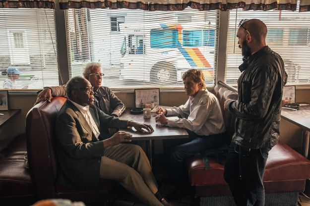 """David Lowery directs Danny Glover, Tom Waits and Robert Redford in a scene from """"The Old Man & the Gun."""""""