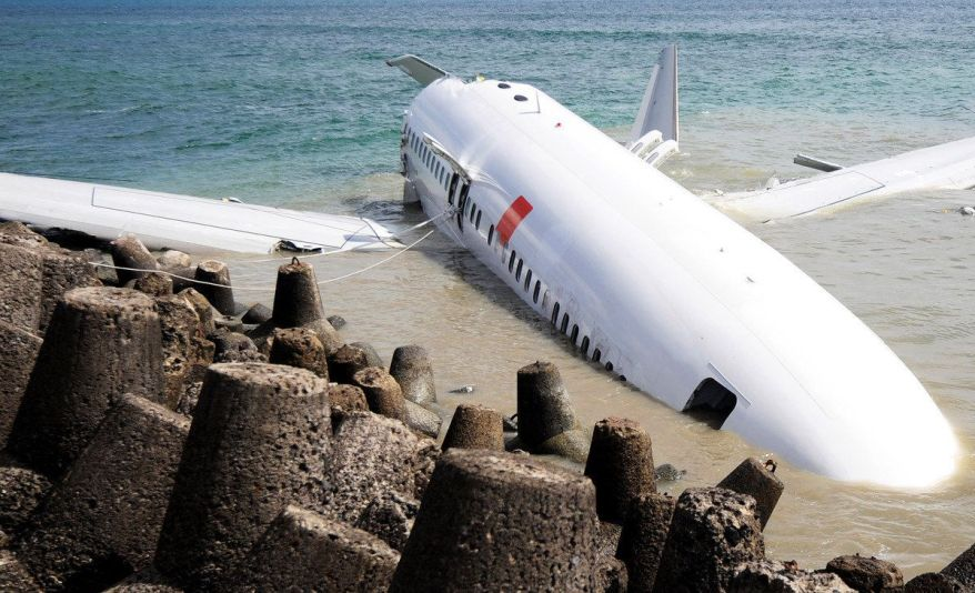 A Lion Air Boeing 737 lies partially submerged in the water two days after it crashed while trying to land at Bali's internat