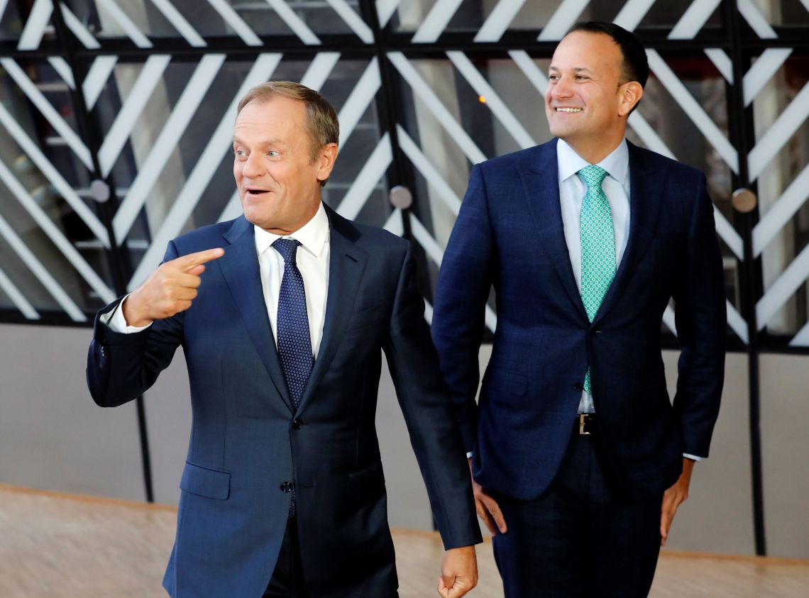 Ireland's Prime Minister Leo Varadkar is welcomed by European Council President Donald Tusk ahead of a meeting to discuss Brexit in Brussels
