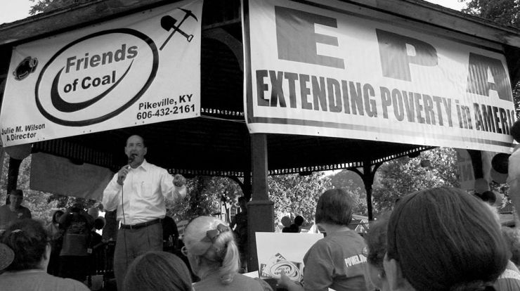 Rocky Adkins a Democratic member of the Kentucky House of Representatives addresses a pro-coal rally in 2012