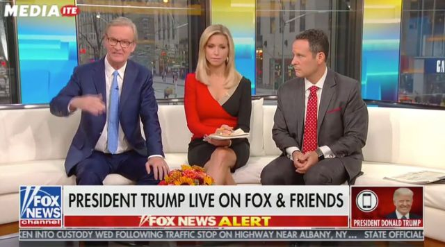 """""""Fox & Friends"""" hosts (from left)Steve Doocy, Ainsley Earhardt and Brian Kilmeade spoke with President"""