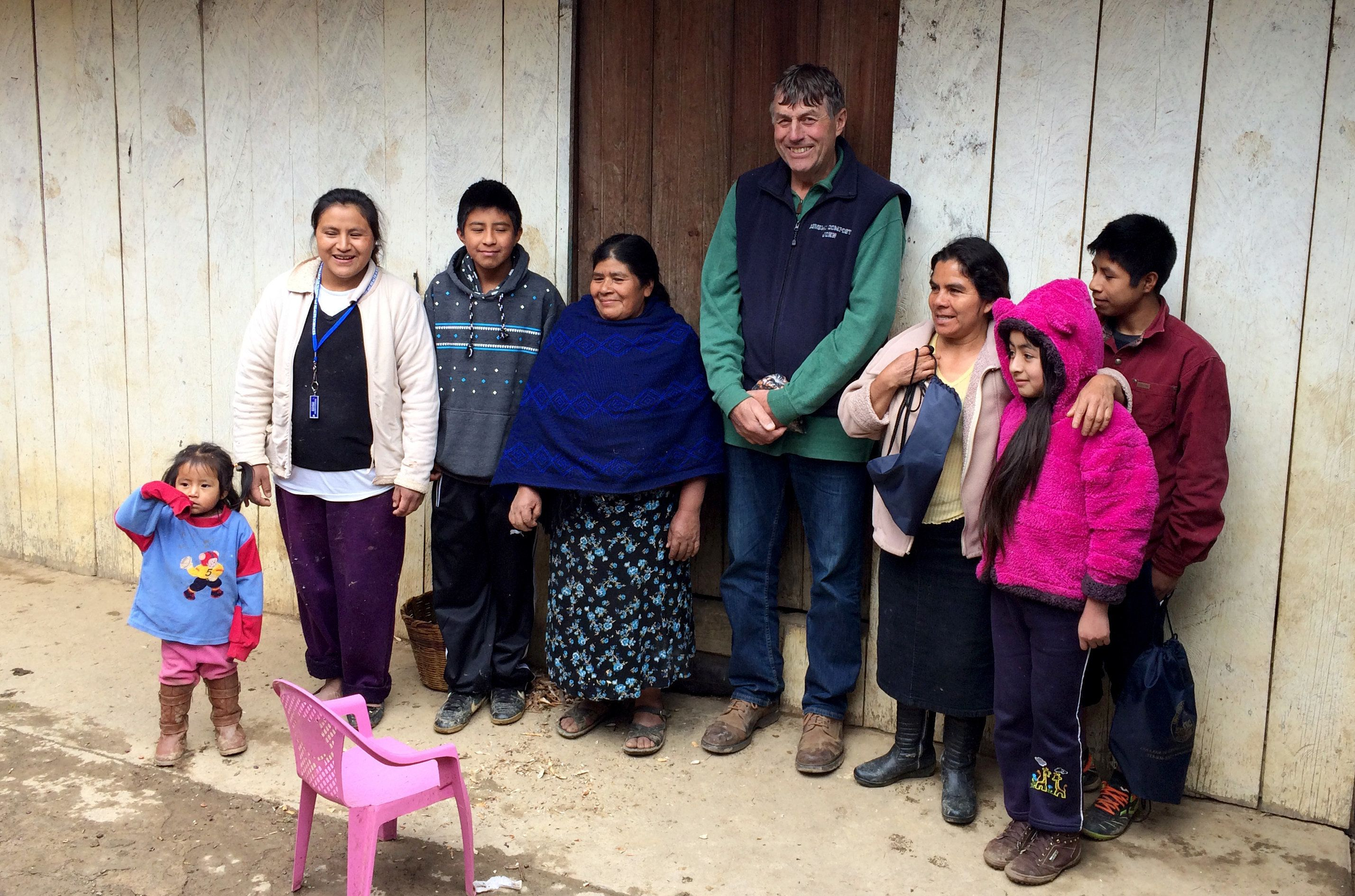 John Rosenow with the family of employee Roberto Tecpile at their home in rural Mexico in January of 2017. Rosenow made the c