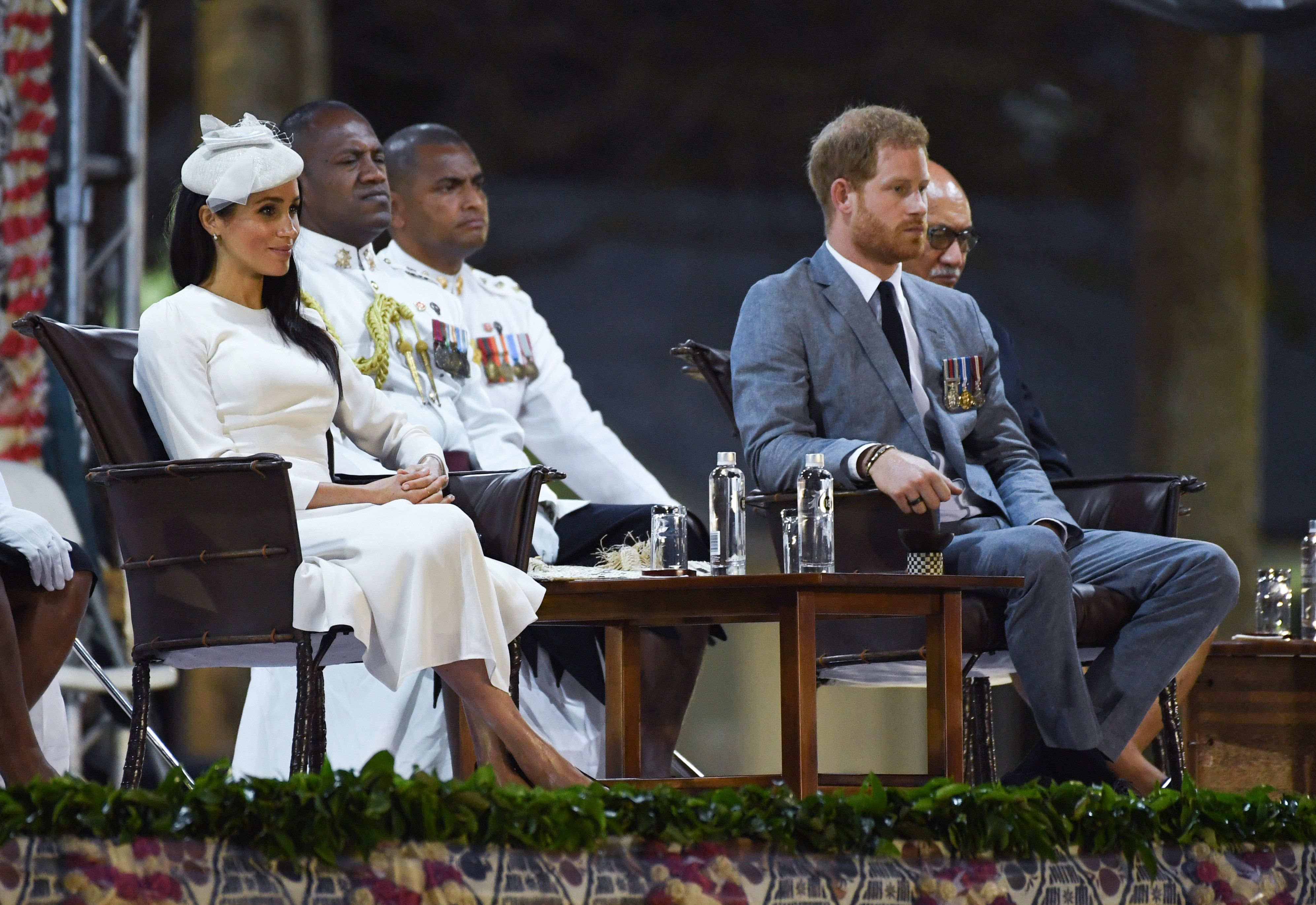 The Duke and Duchess of Sussex arrive in Suva, Fiji, where they took part in a ceremony known as the Veirqaraqaravi Vakavanua