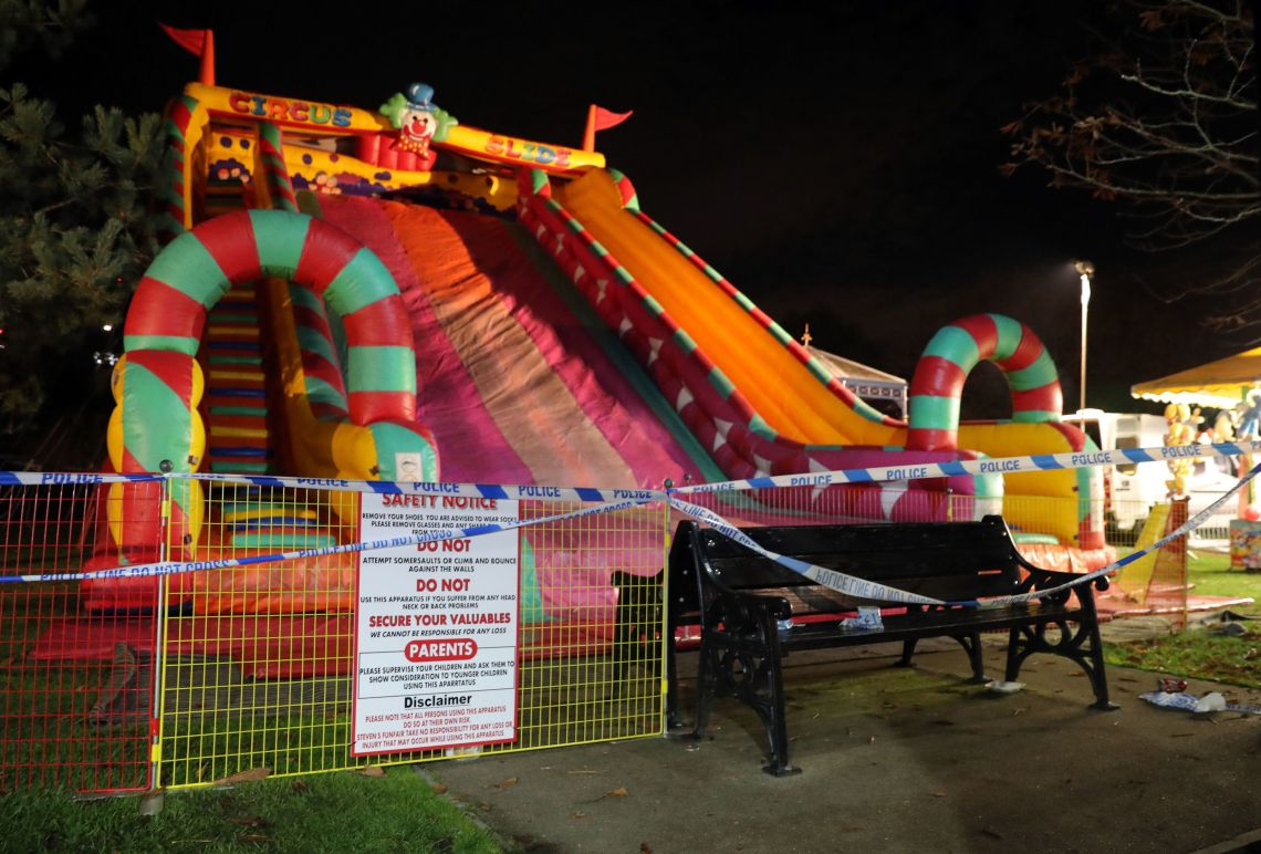 Barriers were erected around the slide later on Saturday night.