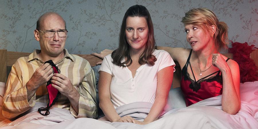 Left to right: David (Alex Macqueen), Sally (Catherine Shepherd) and Emma (Julia Davis)