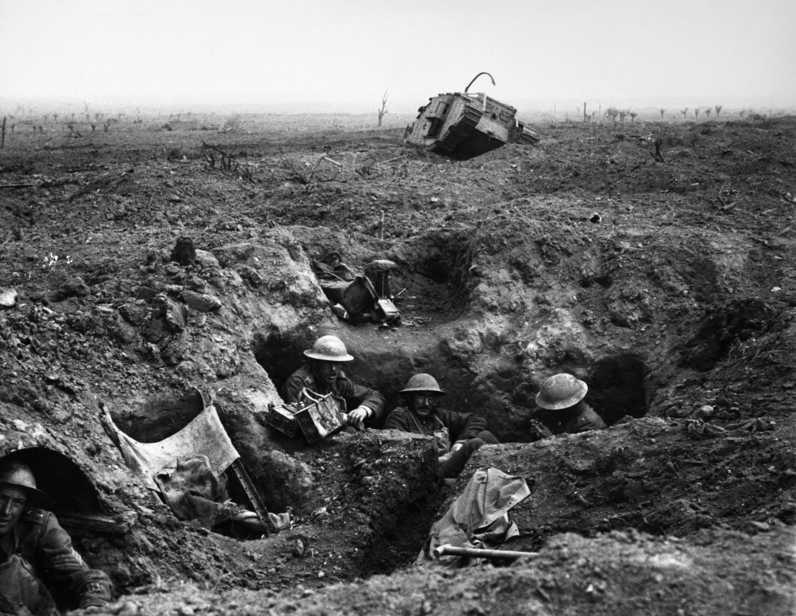 British troops in a trench at the Battle of Passchendaele on 22 September 1917