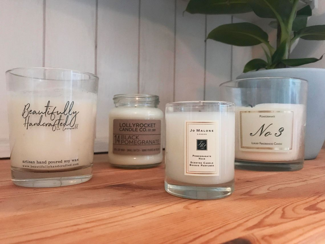 From left to right: candles from Etsy, Not On The High Street, Jo Malone and Aldi
