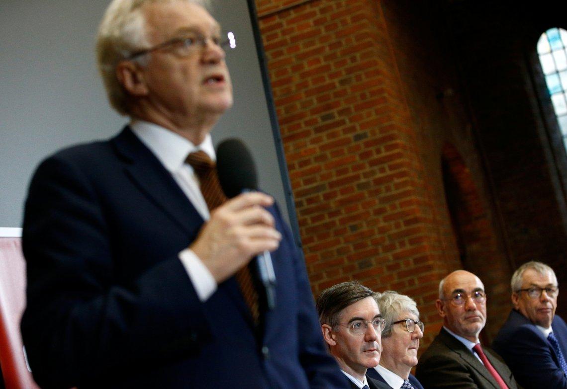 Ex-Brexit secretary David Davis addresses an ERG press conference on Tuesday.