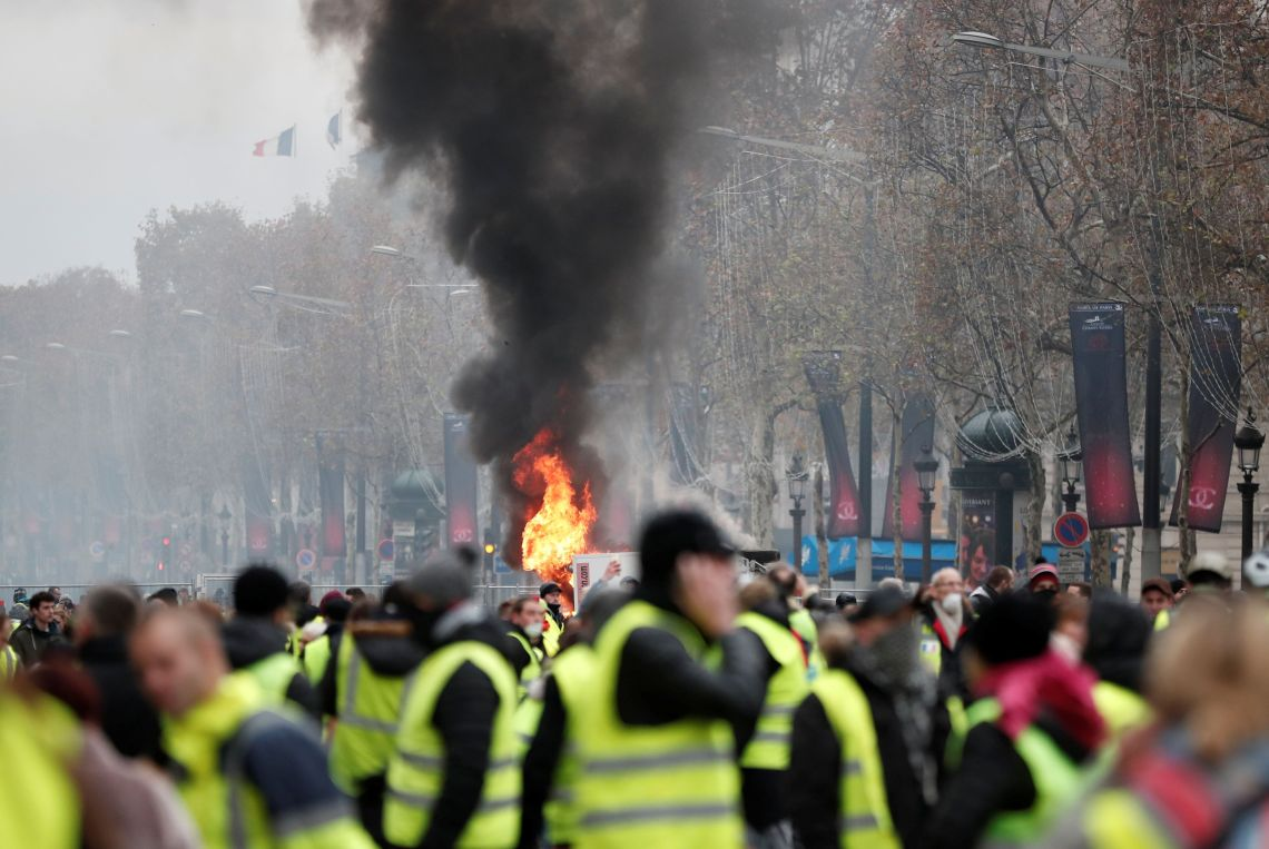 Protestors wore hi-vis vests, which drivers in France are legally required to carry in their vehicles