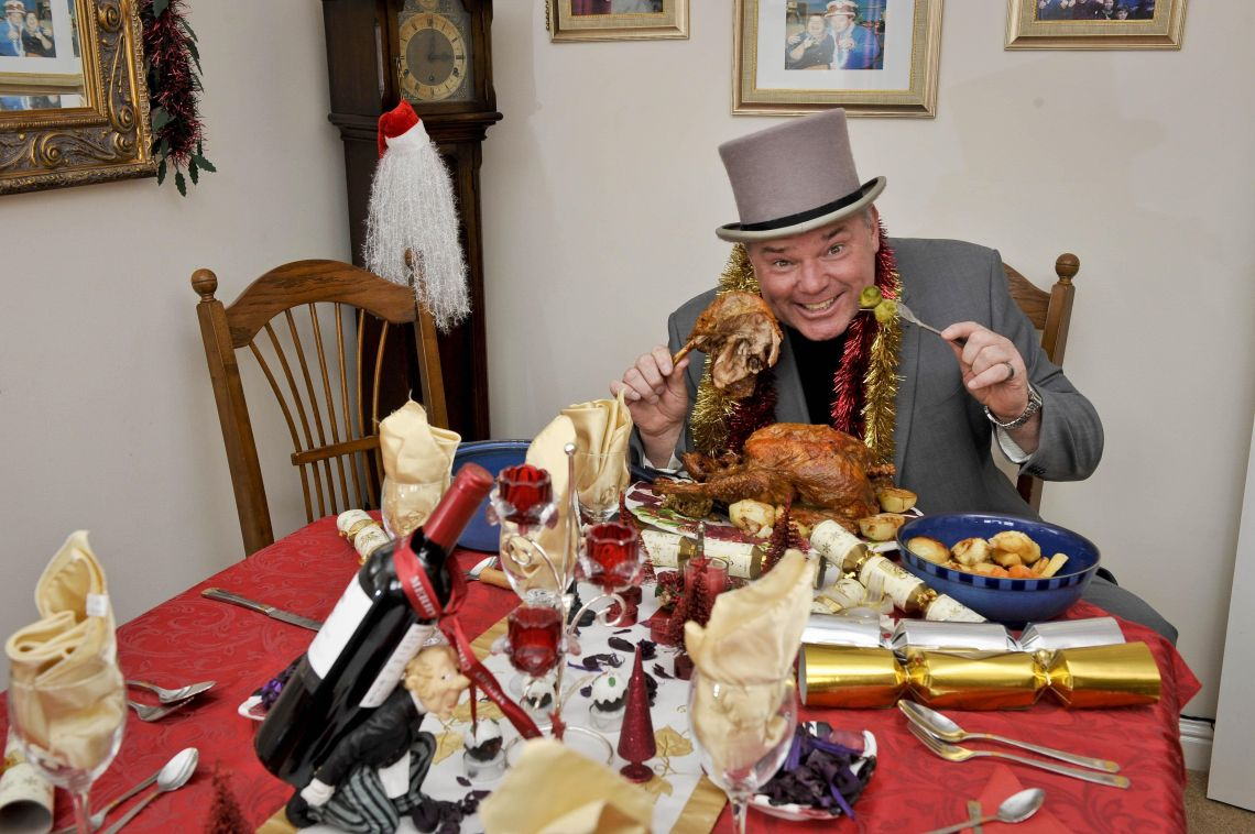 Andy tucks into a Christmas dinner. He's eaten thousands of them in his lifetime.