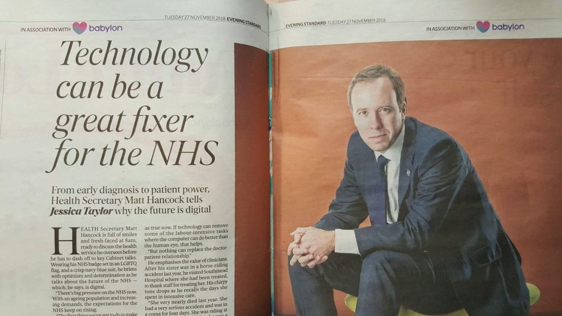 Matt Hancock has been accused of breaking the ministerial code over an article in the Evening Standard's paid-for 'Future London Health Supplement'