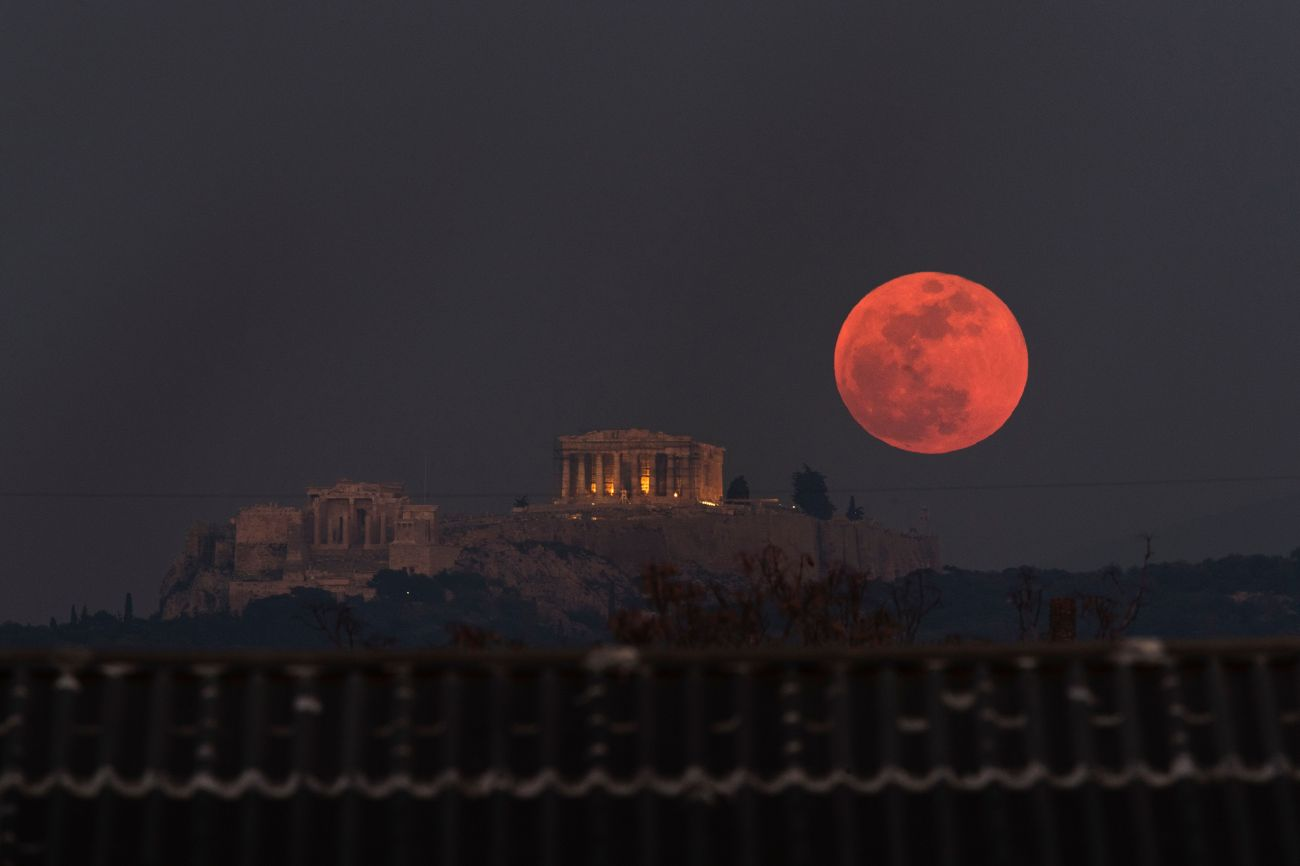 On Jan. 31, 2018, a super blue blood moon rose behind the 2,500-year-old Parthenon on the Acropolis of Athens.