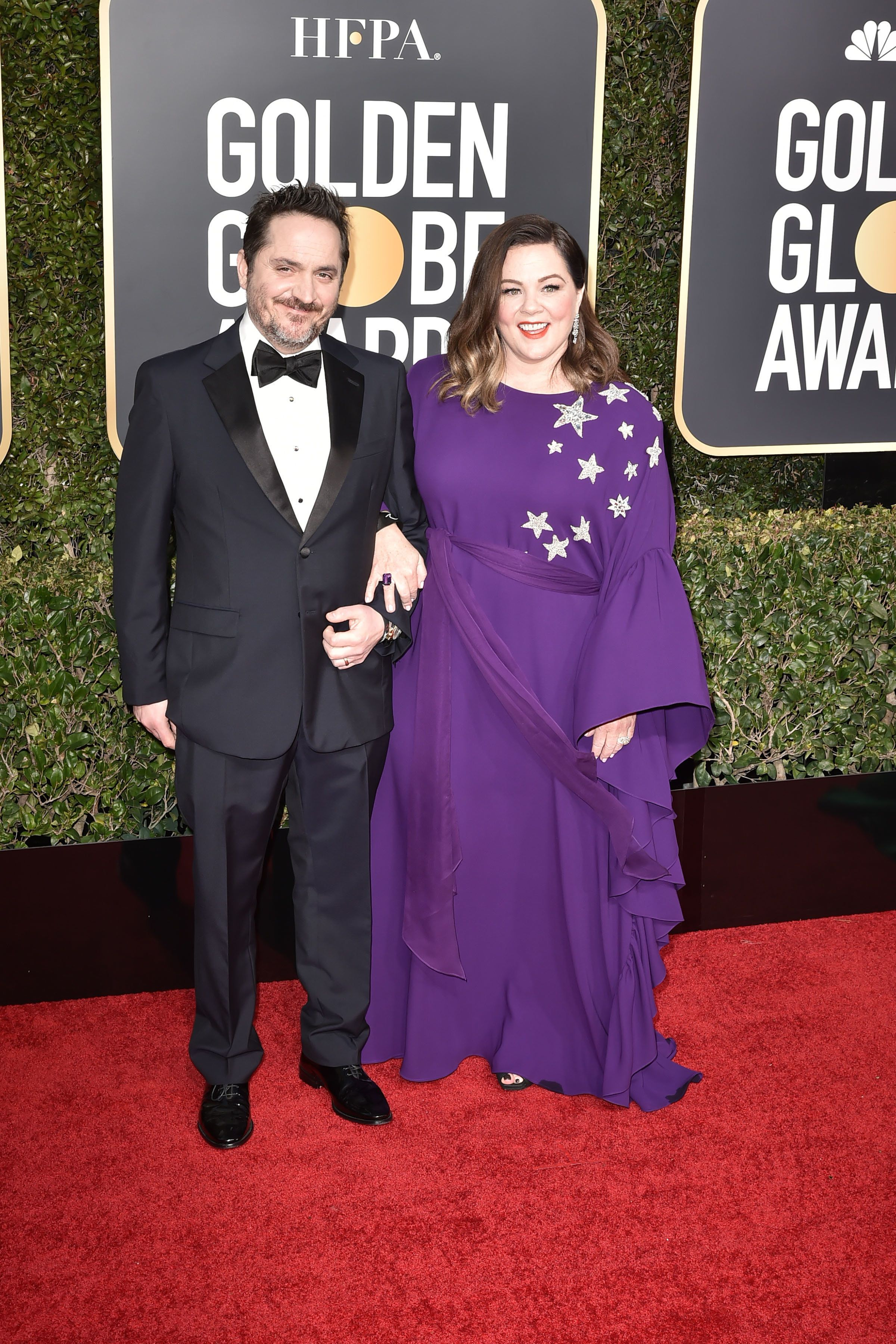 Ben Falcone and Melissa McCarthy arrive at the 76th annual Golden Globe Awards on Sunday.