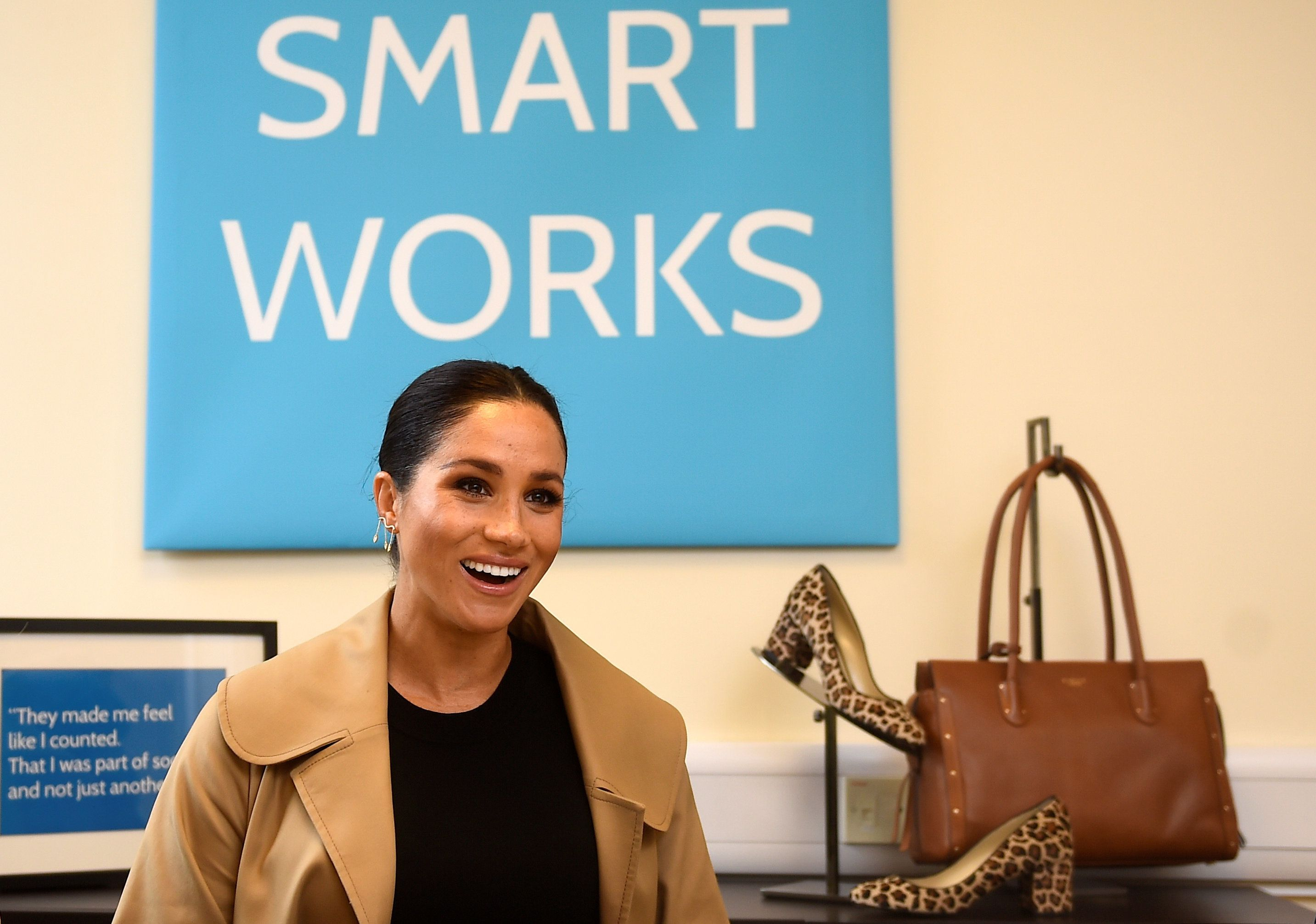 Meghan, the Duchess of Sussex, smiles during her visit at Smart Works charity in West London on Jan. 10.