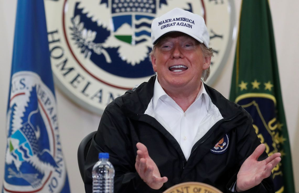 Donald Trump participates in a roundtable discussion at the US Border Patrol Station in McAllen, Texas.