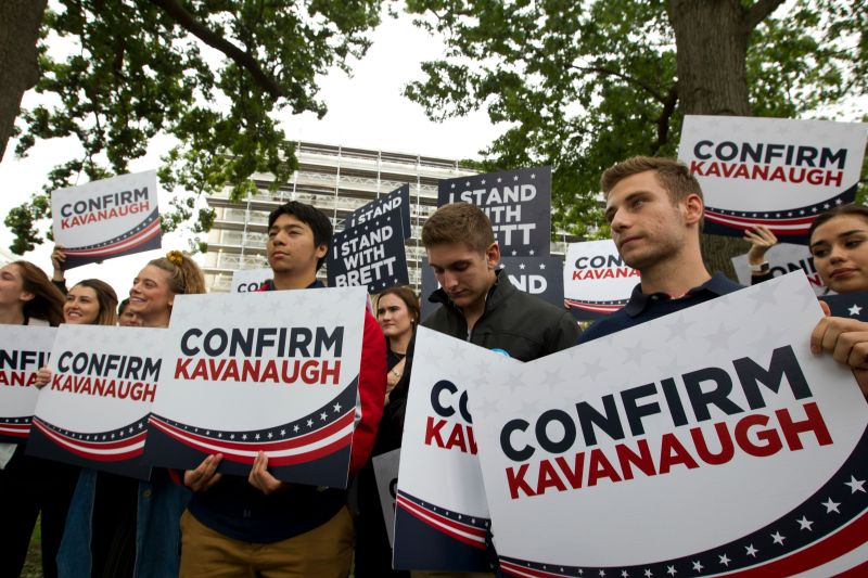 Liberty University students demonstrate in Washington on Sept. 27, 2018, in support of then–Supreme Court nominee Brett