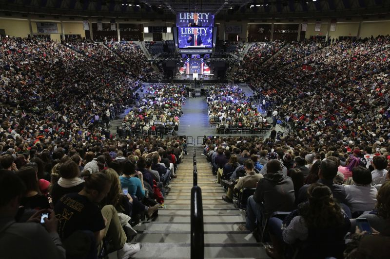 Then-candidate Trump speaks at a Liberty University convocation in January 2016.