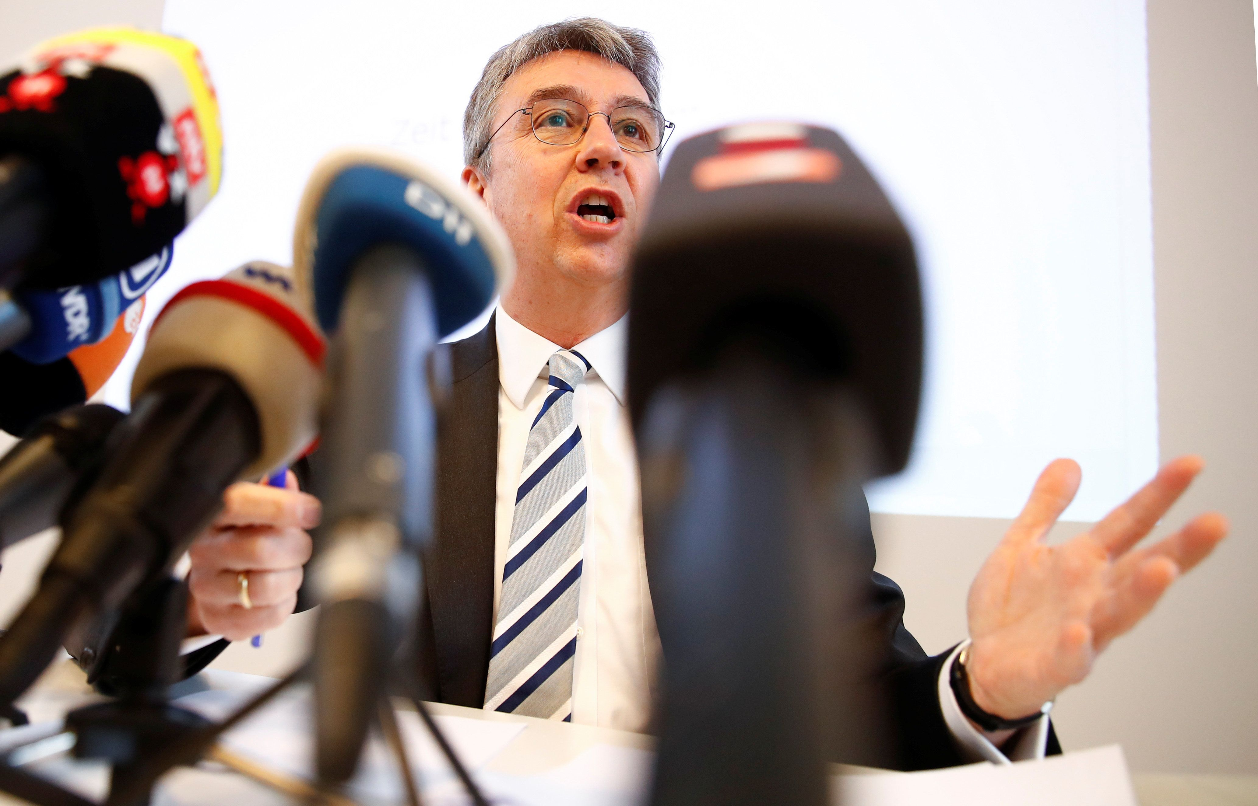 Andreas Mundt, president of Germany's Federal Cartel Office addresses a news conference presenting findings of the anti-trust