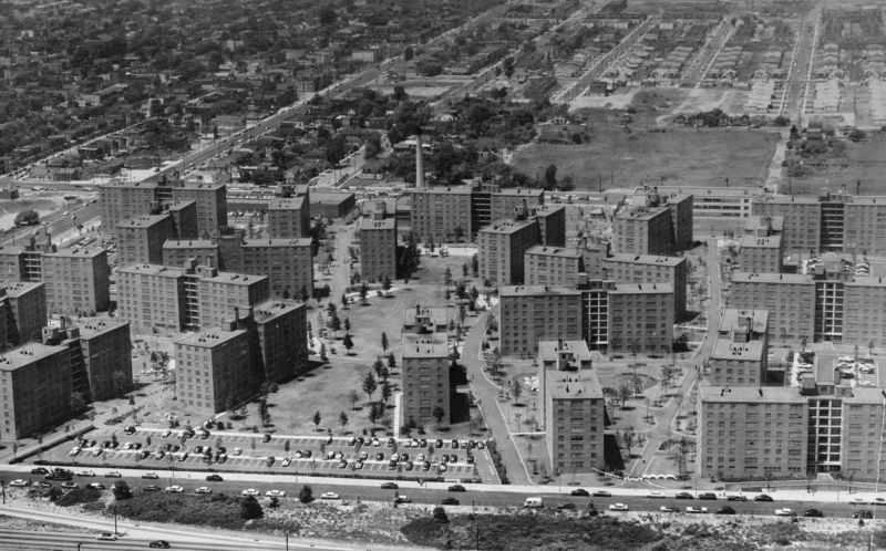 An aerial photo of the Bay View Houses.