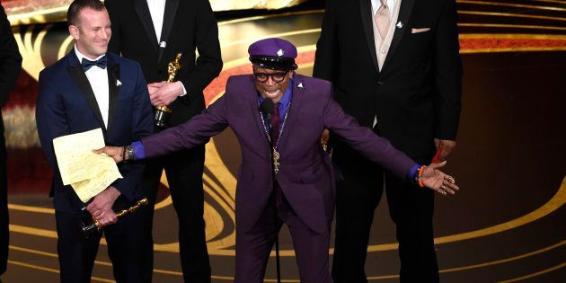"""Spike Lee accepting the award for Best Adapted Screenplay for """"BlacKkKlansman."""""""