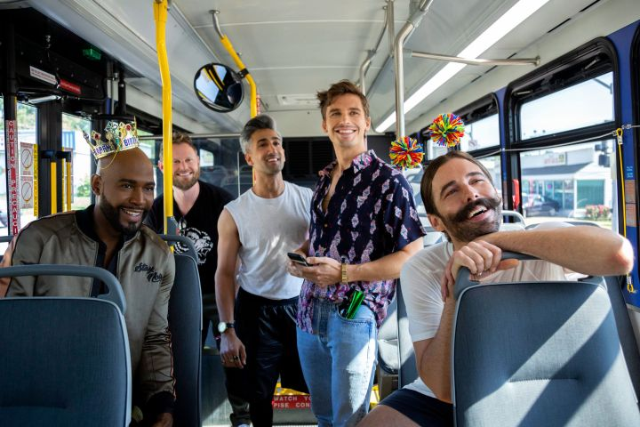 "Karamo Brown, Bobby Berk, Tan France, Antoni Porowski, Jonathan Van Ness in ""Queer Eye"" on Netflix."