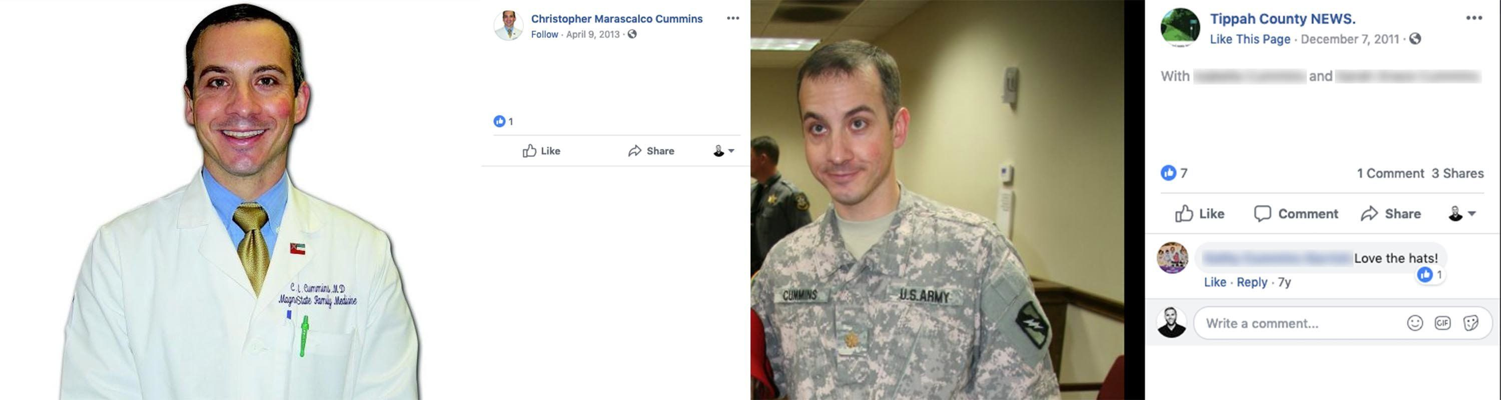 Christopher Cummins, a lieutenant colonel physician in the Army Reserve.Many of his biographical details match those of