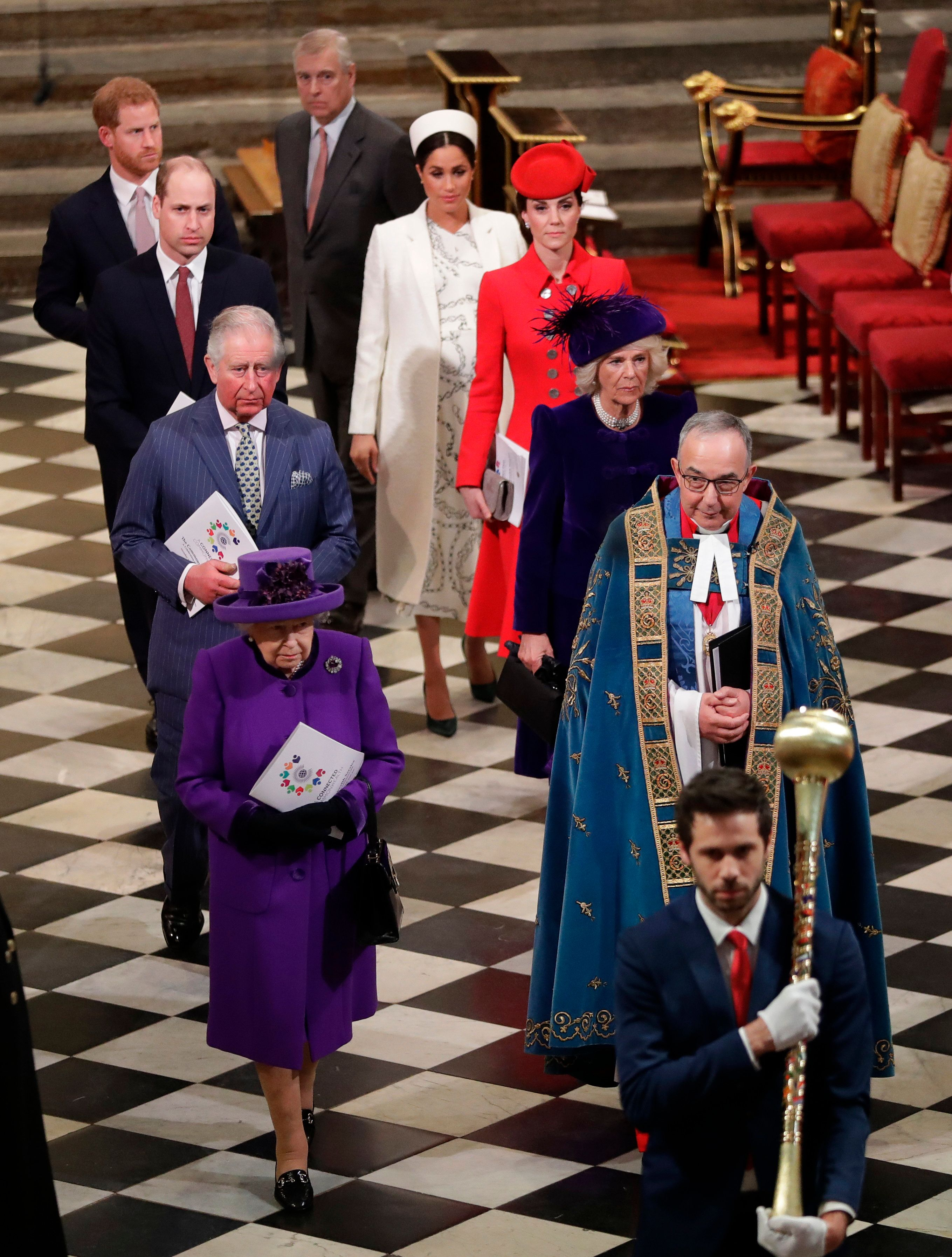 The royal family leaving the Commonwealth Day service.