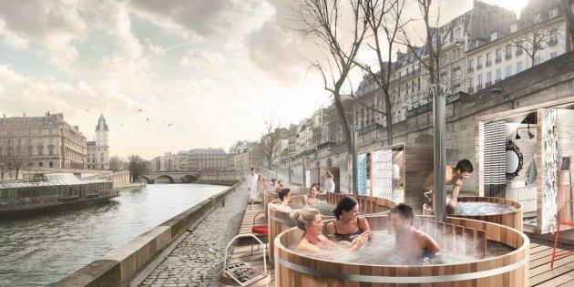 Paris Les Bains Chauds Dikea Le Long De La Seine Fâchent
