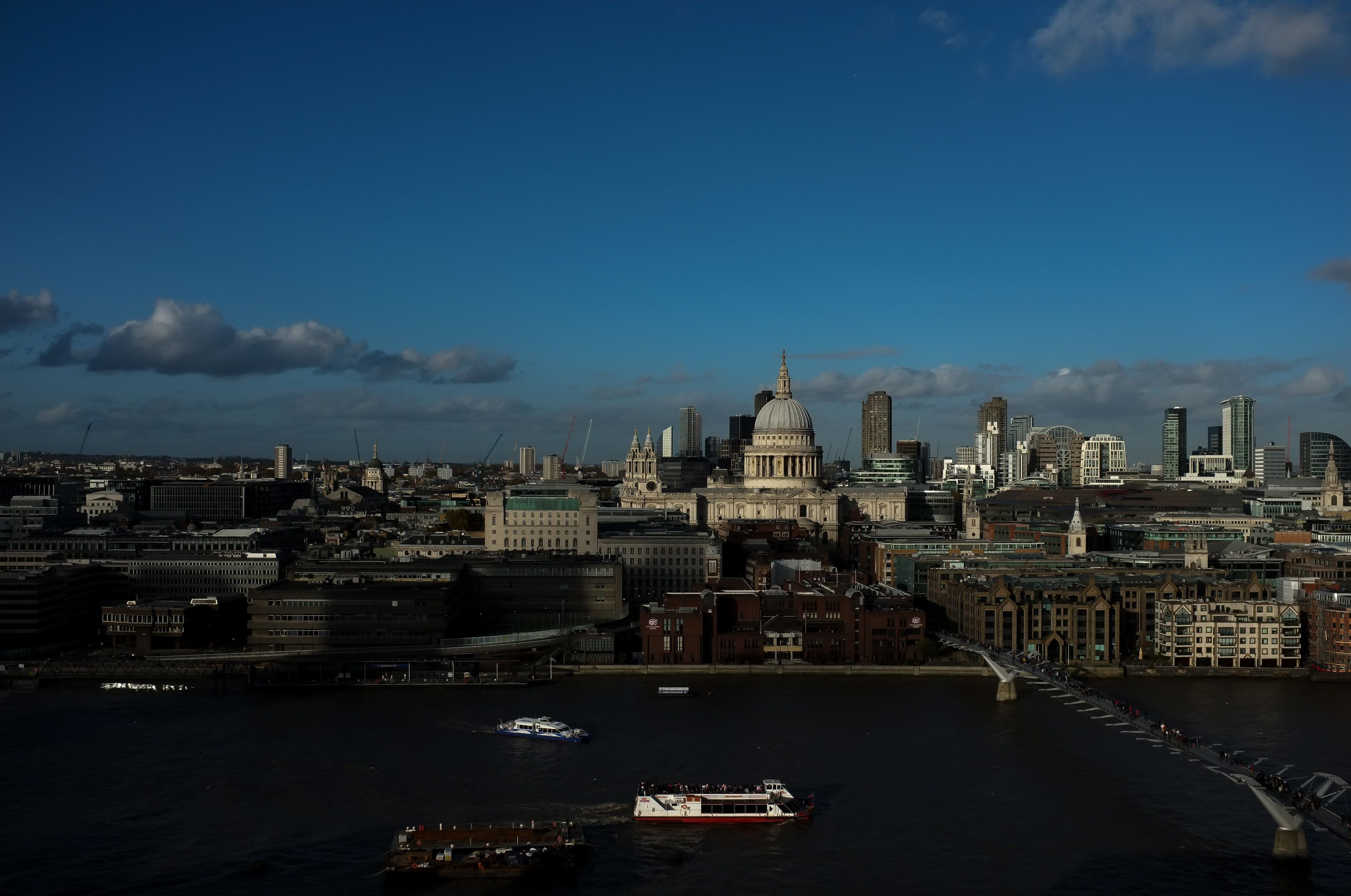 "The view of London's skyline from the Tate Modern, one of the four Tate galleries. ""We do not think it right to seek or"