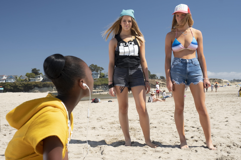 "Cali Sheldon and Noelle Sheldon confront Shahadi Wright Joseph in ""Us."""