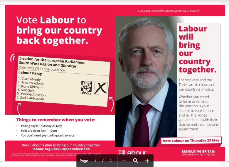 Fury As Corbyn European Elections Leaflet Suggests Labour Backs