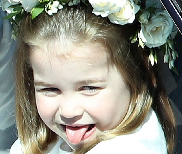Princess Charlotte Arrives For The Wedding Ceremony Of Prince Harry And Meghan Markle At St Georges