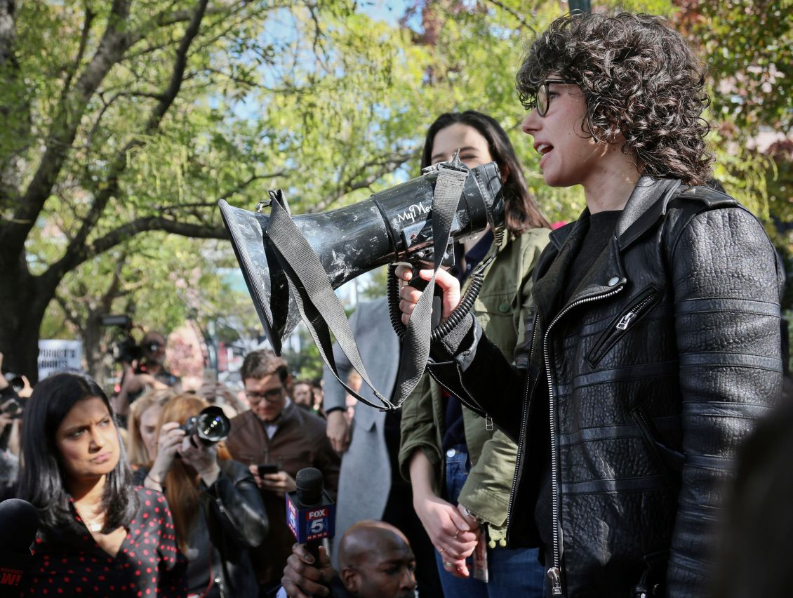 Claire Stapleton (left) and Meredith Whittaker (right) addressing Google employees at the walkout in November.
