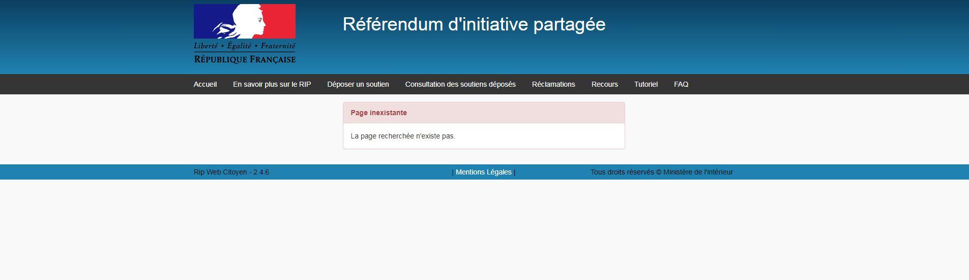 La page permettant de comptabiliser facilement les soutiens au référendum, bloquée...