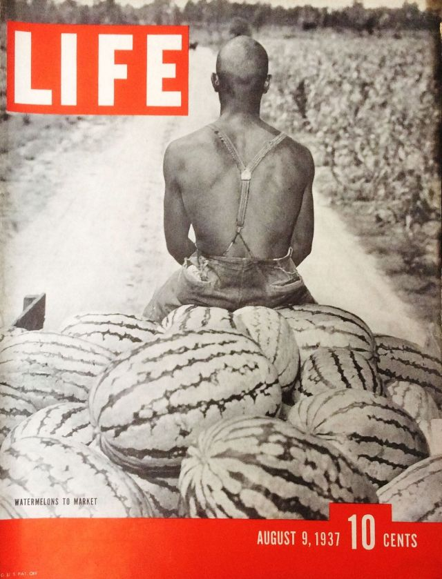 This 1937 Life Magazine cover depicts a black watermelon farmer.